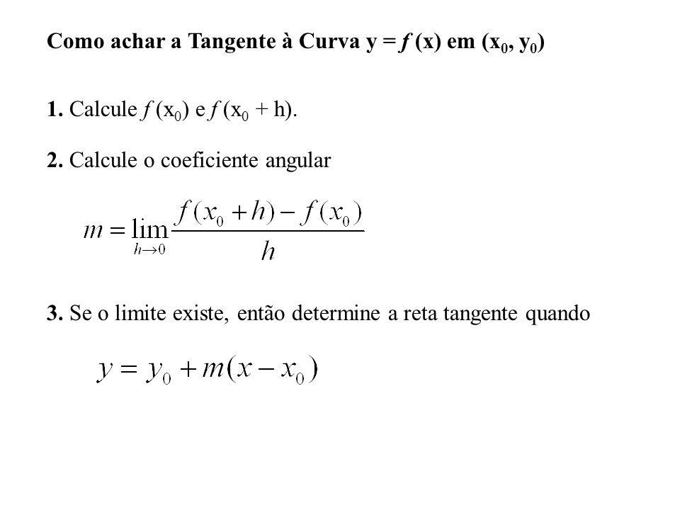 Como achar a Tangente à Curva y = f (x) em (x 0, y 0 ) 1.