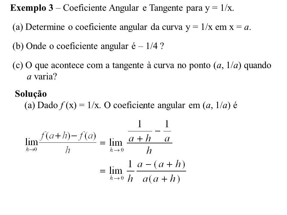 Exemplo 3 – Coeficiente Angular e Tangente para y = 1/x.