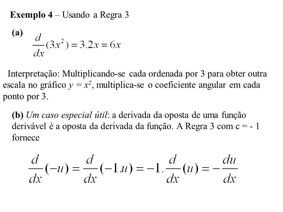 Exemplo 4 – Usando a Regra 3 (a) Interpretação: Multiplicando-se cada ordenada por 3 para obter outra escala no gráfico y = x 2, multiplica-se o coefi