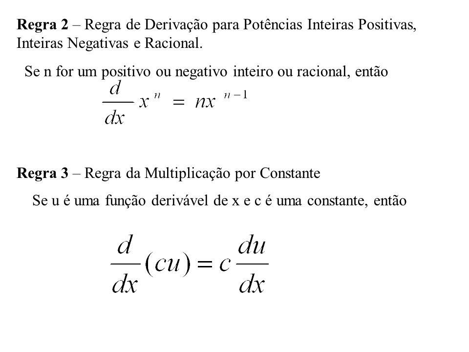 Regra 2 – Regra de Derivação para Potências Inteiras Positivas, Inteiras Negativas e Racional. Se n for um positivo ou negativo inteiro ou racional, e