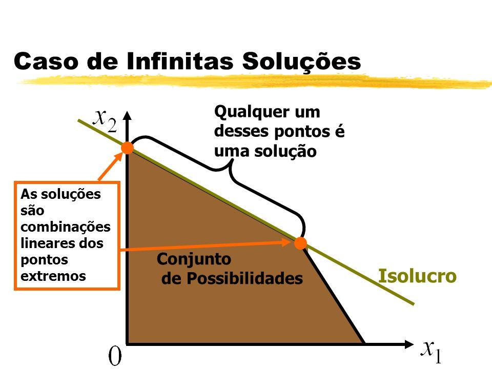Caso de Infinitas Soluções Conjunto de Possibilidades Qualquer um desses pontos é uma solução As soluções são combinações lineares dos pontos extremos