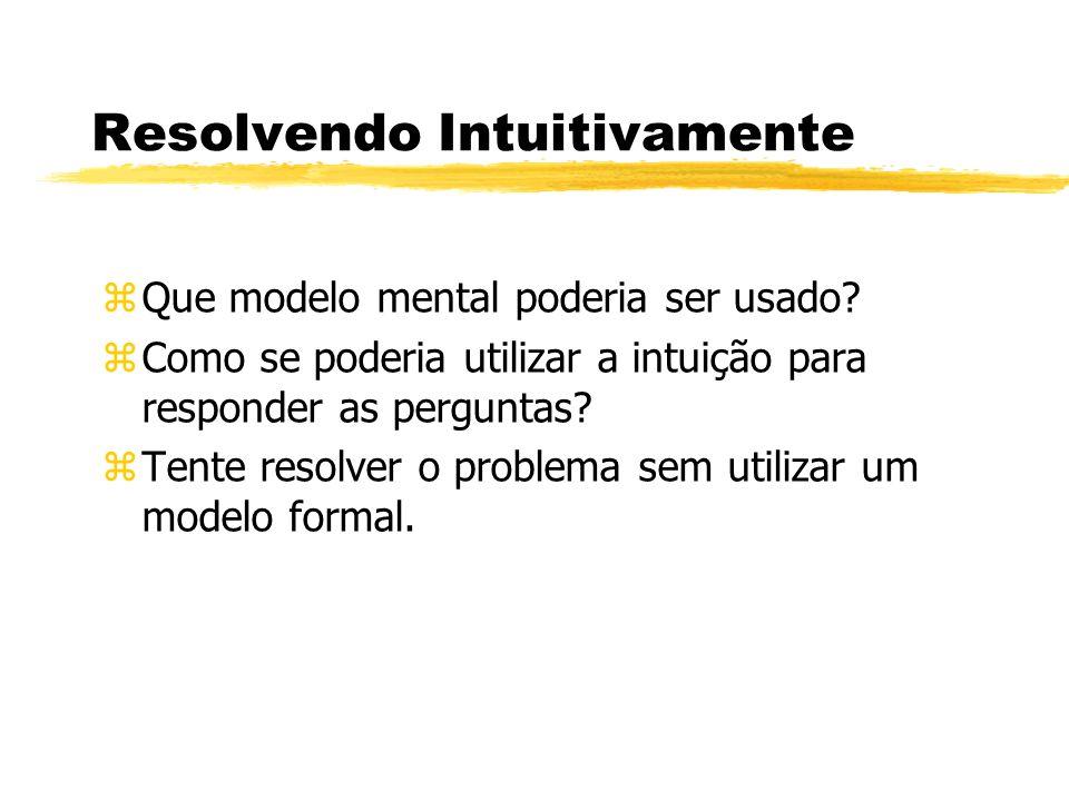 Resolvendo Intuitivamente zQue modelo mental poderia ser usado? zComo se poderia utilizar a intuição para responder as perguntas? zTente resolver o pr