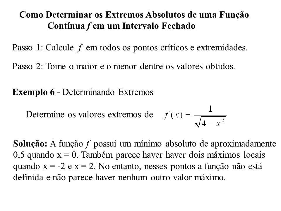 Como Determinar os Extremos Absolutos de uma Função Contínua f em um Intervalo Fechado Passo 1: Calcule f em todos os pontos críticos e extremidades.