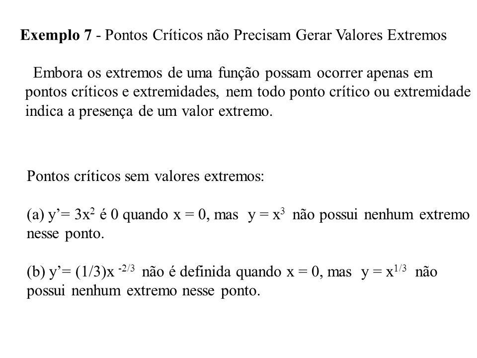Exemplo 7 - Pontos Críticos não Precisam Gerar Valores Extremos Embora os extremos de uma função possam ocorrer apenas em pontos críticos e extremidades, nem todo ponto crítico ou extremidade indica a presença de um valor extremo.