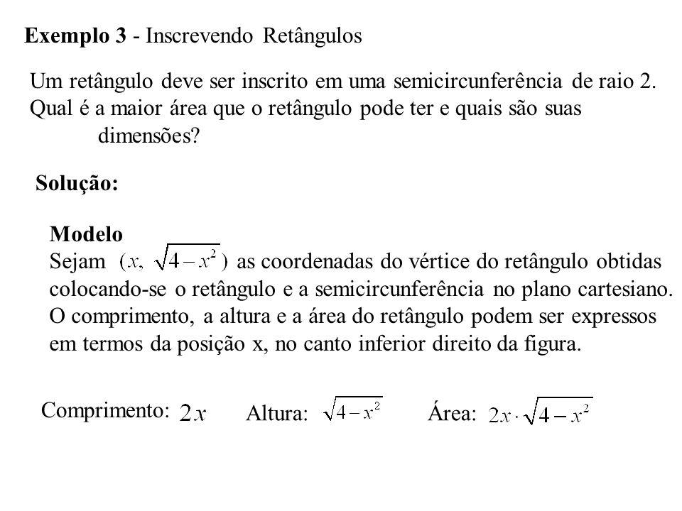 Exemplo 3 - Inscrevendo Retângulos Um retângulo deve ser inscrito em uma semicircunferência de raio 2.