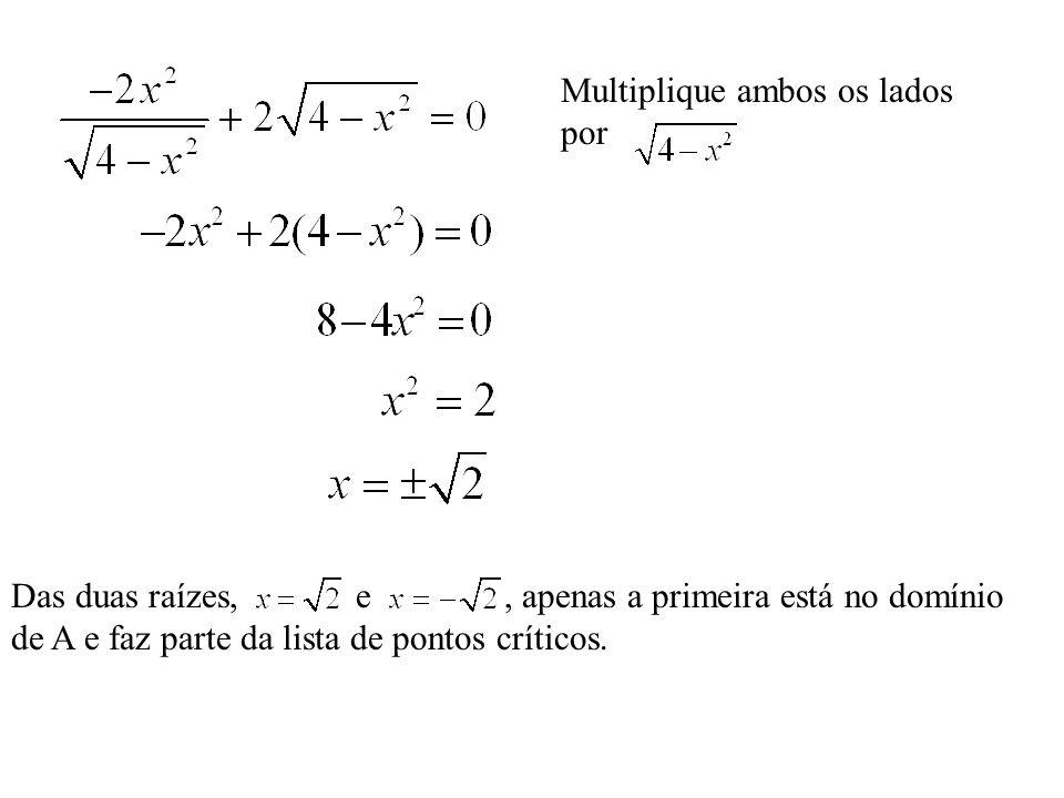 Multiplique ambos os lados por Das duas raízes, e, apenas a primeira está no domínio de A e faz parte da lista de pontos críticos.