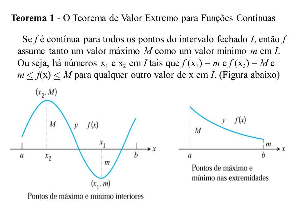 Teorema 4 - O Teorema do Valor Médio Suponha que y = f(x) seja contínua em um intervalo fechado [a, b] e derivável no intervalo aberto (a, b).