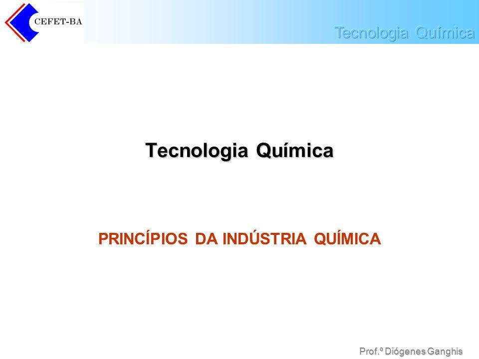 Prof.º Diógenes Ganghis Indústria Química A indústria química faz as transformações de substâncias em escala industrial.