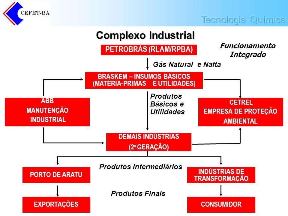Prof.º Diógenes Ganghis Complexo Industrial Funcionamento Integrado PETROBRÁS (RLAM/RPBA) BRASKEM – INSUMOS BÁSICOS (MATÉRIA-PRIMAS E UTILIDADES) Gás