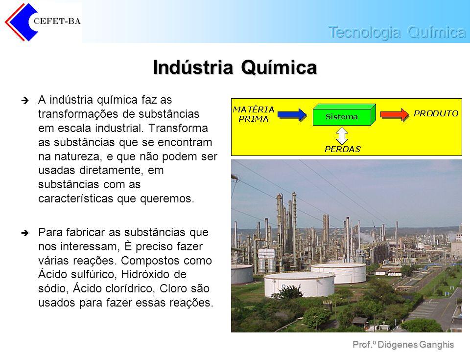 Prof.º Diógenes Ganghis Indústria Química A indústria química faz as transformações de substâncias em escala industrial. Transforma as substâncias que