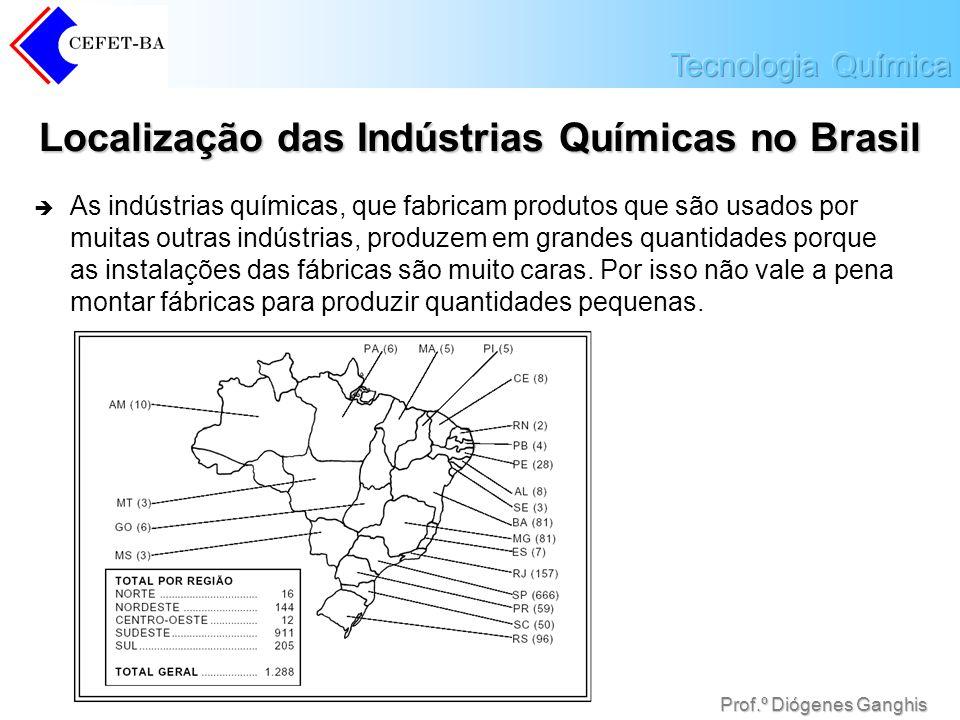 Prof.º Diógenes Ganghis Localização das Indústrias Químicas no Brasil As indústrias químicas, que fabricam produtos que são usados por muitas outras i