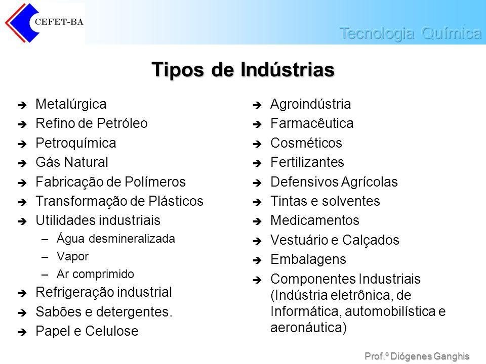 Prof.º Diógenes Ganghis Tipos de Indústrias Metalúrgica Refino de Petróleo Petroquímica Gás Natural Fabricação de Polímeros Transformação de Plásticos