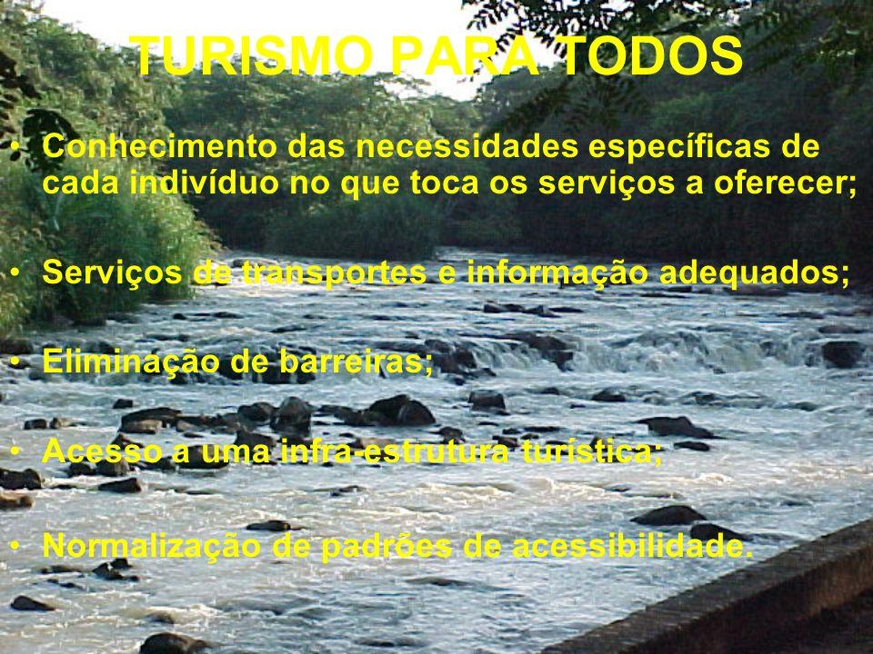 TURISMO PARA TODOS Conhecimento das necessidades específicas de cada indivíduo no que toca os serviços a oferecer; Serviços de transportes e informação adequados; Eliminação de barreiras; Acesso a uma infra-estrutura turística; Normalização de padrões de acessibilidade.