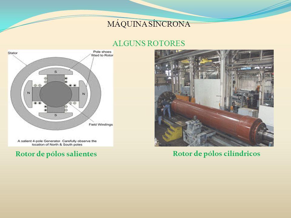 MÁQUINA SÍNCRONA ALGUNS ROTORES Rotor de pólos salientes Rotor de pólos cilíndricos