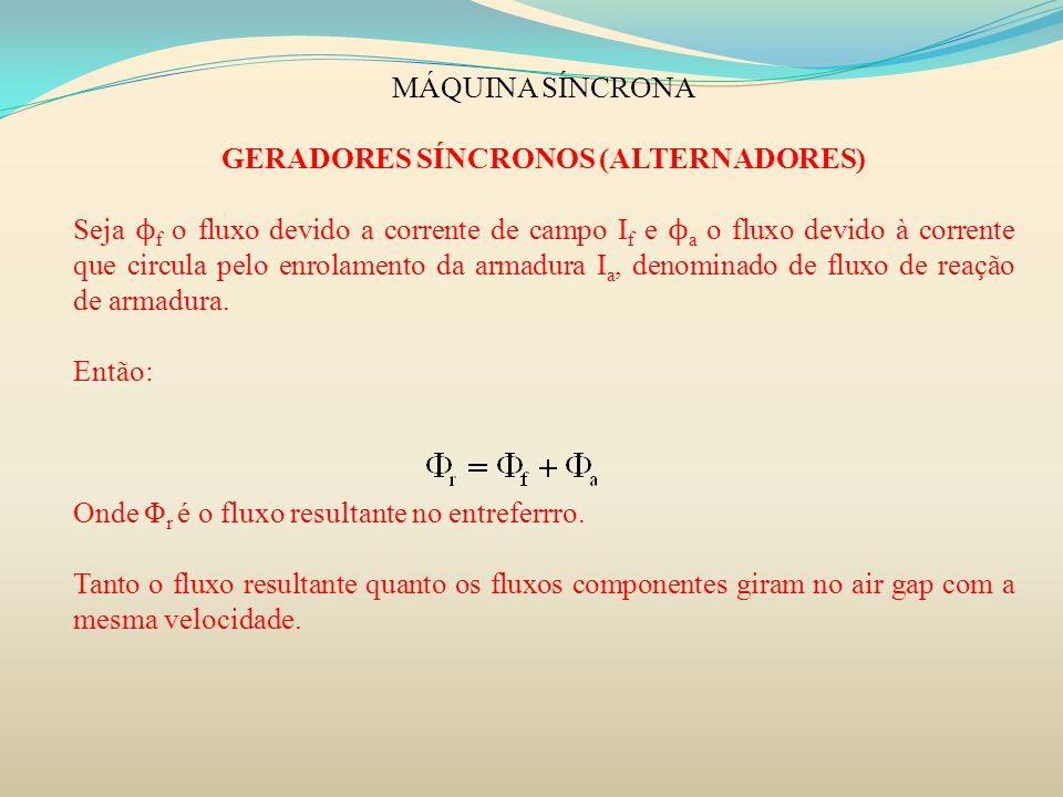 MÁQUINA SÍNCRONA GERADORES SÍNCRONOS (ALTERNADORES) Seja ϕ f o fluxo devido a corrente de campo I f e ϕ a o fluxo devido à corrente que circula pelo e