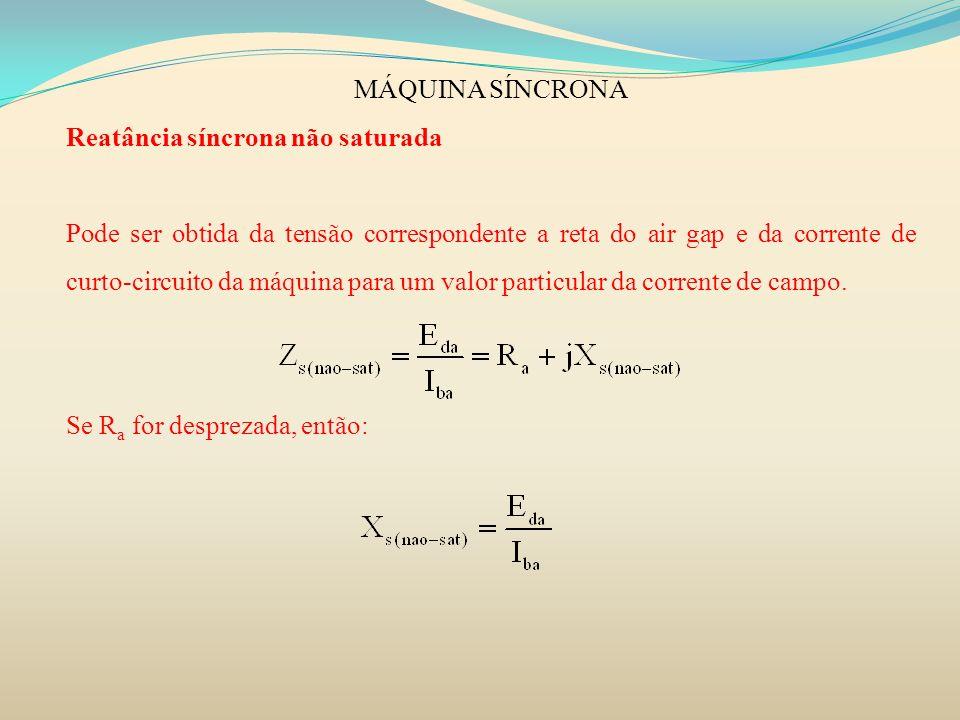 MÁQUINA SÍNCRONA Reatância síncrona não saturada Pode ser obtida da tensão correspondente a reta do air gap e da corrente de curto-circuito da máquina