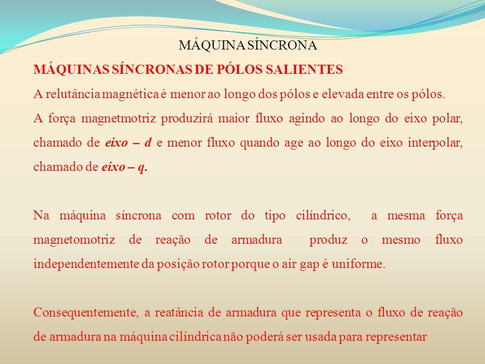 MÁQUINA SÍNCRONA MÁQUINAS SÍNCRONAS DE PÓLOS SALIENTES A relutância magnética é menor ao longo dos pólos e elevada entre os pólos. A força magnetmotri