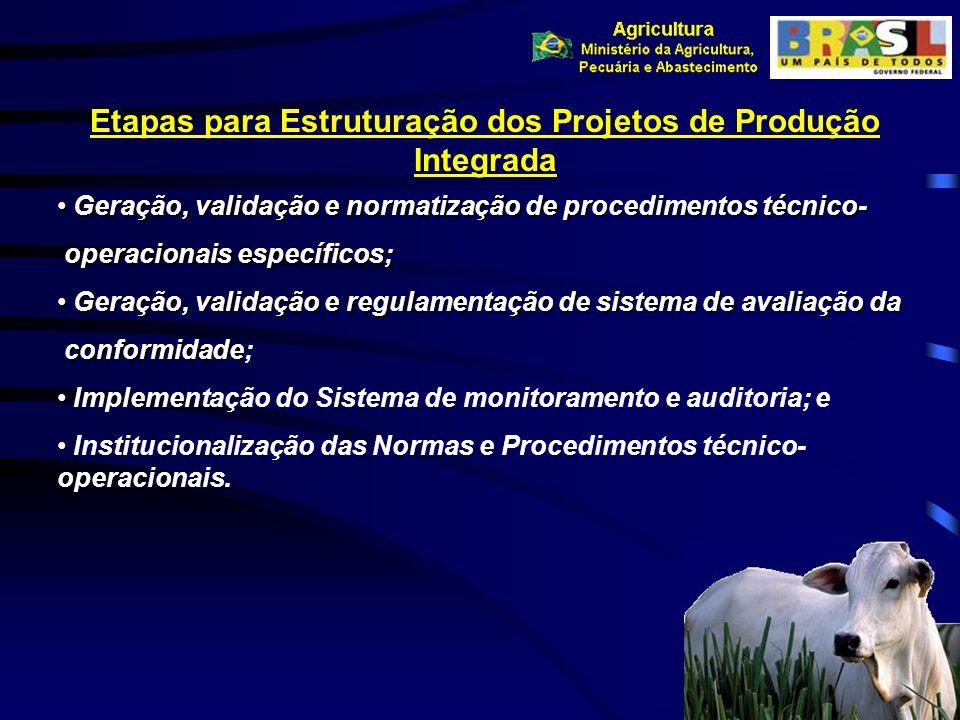 Etapas para Estruturação dos Projetos de Produção Integrada Geração, validação e normatização de procedimentos técnico- Geração, validação e normatiza