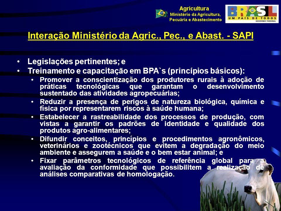 Interação Ministério da Agric., Pec., e Abast. - SAPI Legislações pertinentes; e Treinamento e capacitação em BPA`s (princípios básicos): Promover a c