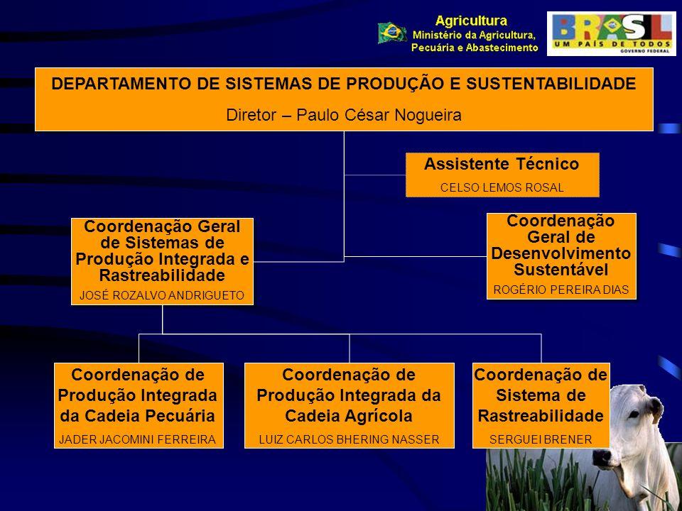 DEPARTAMENTO DE SISTEMAS DE PRODUÇÃO E SUSTENTABILIDADE Diretor – Paulo César Nogueira Coordenação Geral de Sistemas de Produção Integrada e Rastreabi