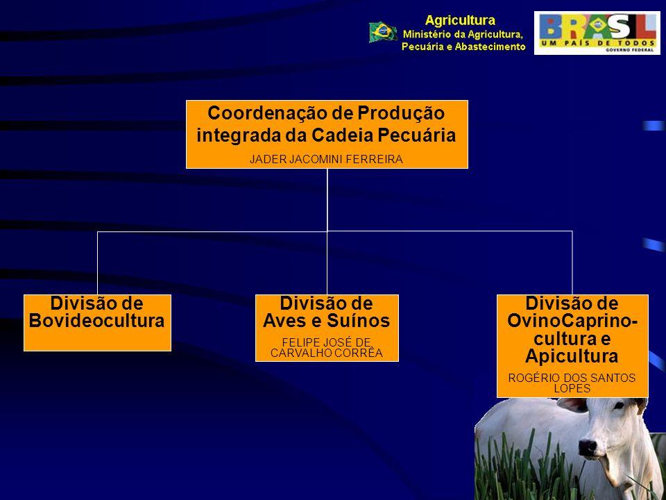 Coordenação de Produção integrada da Cadeia Pecuária JADER JACOMINI FERREIRA Divisão de Bovideocultura Divisão de Aves e Suínos FELIPE JOSÉ DE CARVALH