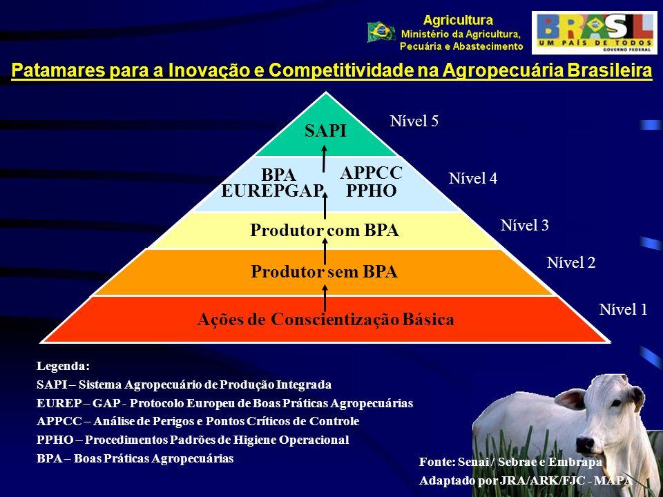 Patamares para a Inovação e Competitividade na Agropecuária Brasileira Ações de Conscientização Básica Produtor com BPA BPA APPCC PPHO SAPI Legenda: S
