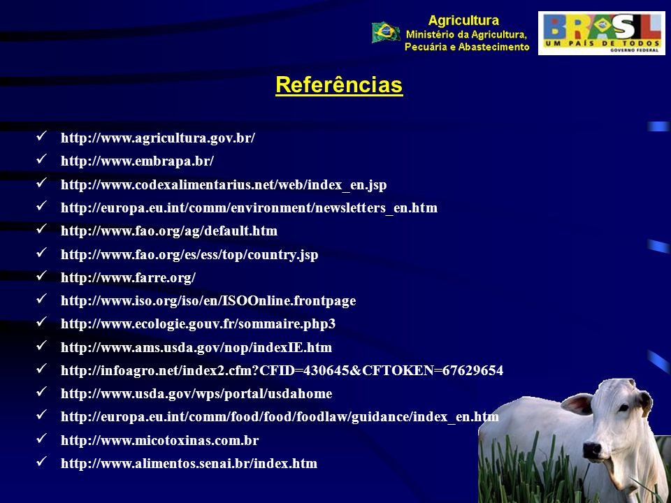 Referências http://www.agricultura.gov.br/ http://www.embrapa.br/ http://www.codexalimentarius.net/web/index_en.jsp http://europa.eu.int/comm/environm