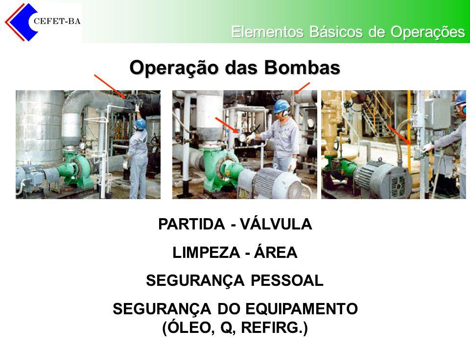 Operação das Bombas PARTIDA - VÁLVULA LIMPEZA - ÁREA SEGURANÇA PESSOAL SEGURANÇA DO EQUIPAMENTO (ÓLEO, Q, REFIRG.)