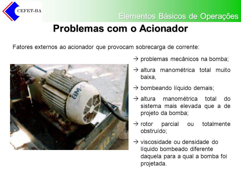 Problemas com o Acionador problemas mecânicos na bomba; altura manométrica total muito baixa, bombeando líquido demais; altura manométrica total do sistema mais elevada que a de projeto da bomba; rotor parcial ou totalmente obstruído; viscosidade ou densidade do líquido bombeado diferente daquela para a qual a bomba foi projetada.
