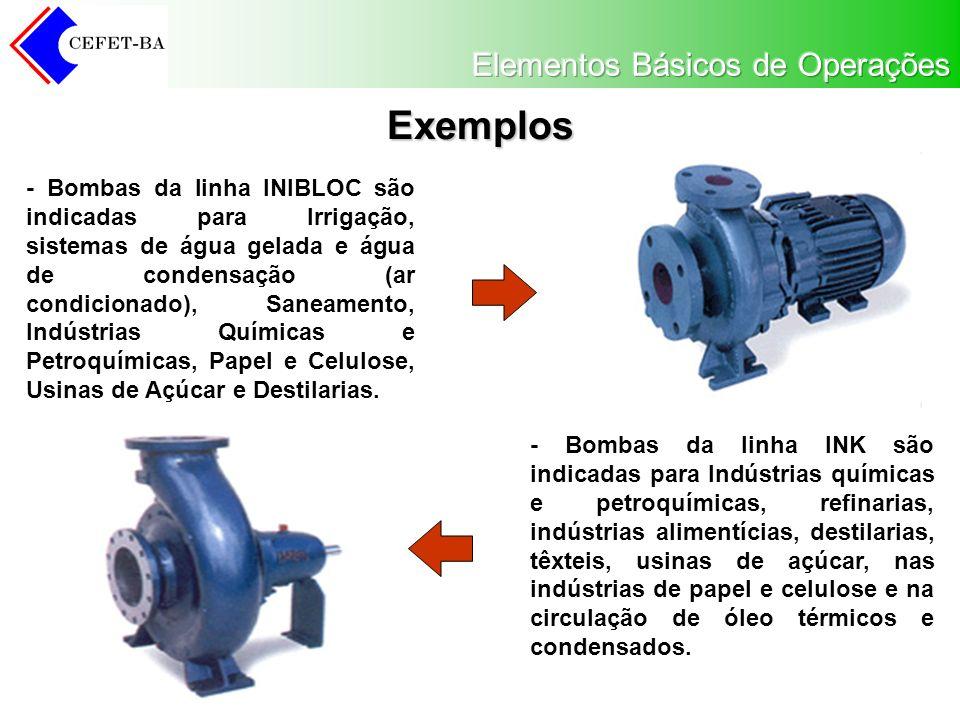 Exemplos - Bombas da linha INIBLOC são indicadas para Irrigação, sistemas de água gelada e água de condensação (ar condicionado), Saneamento, Indústrias Químicas e Petroquímicas, Papel e Celulose, Usinas de Açúcar e Destilarias.