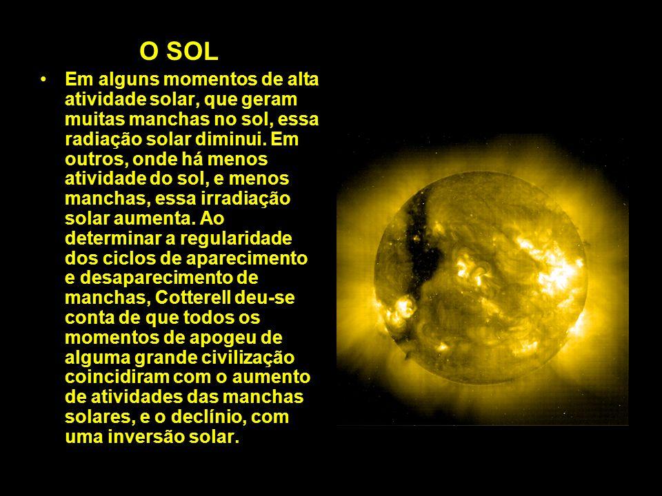 O SOL Em alguns momentos de alta atividade solar, que geram muitas manchas no sol, essa radiação solar diminui. Em outros, onde há menos atividade do