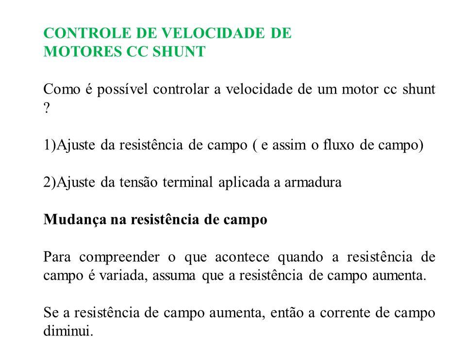 CONTROLE DE VELOCIDADE DE MOTORES CC SHUNT Como é possível controlar a velocidade de um motor cc shunt ? 1)Ajuste da resistência de campo ( e assim o