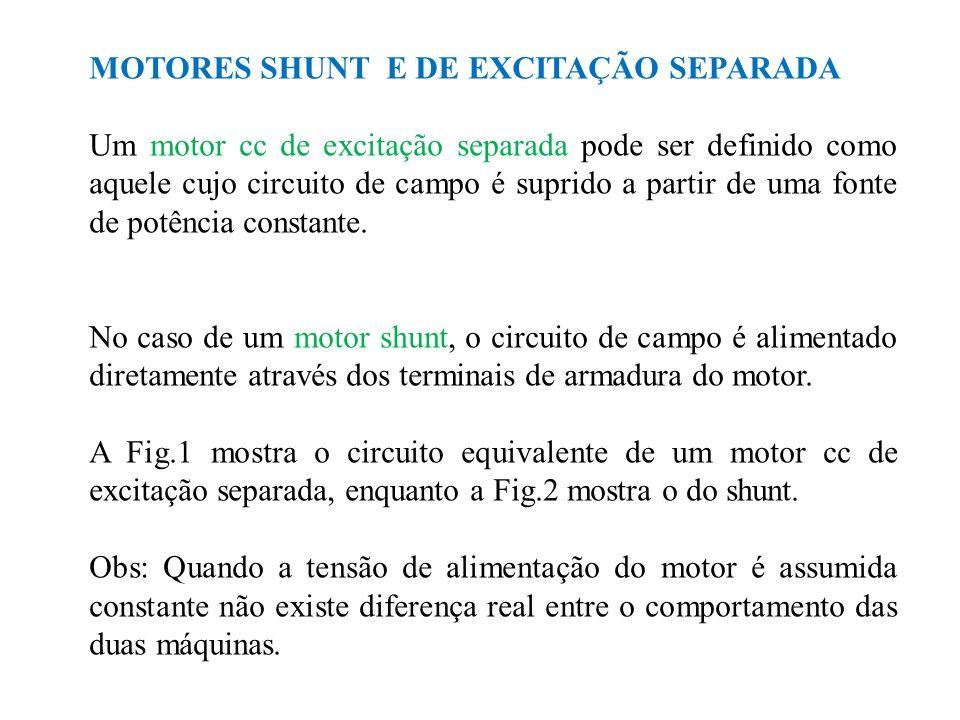 MOTORES SHUNT E DE EXCITAÇÃO SEPARADA Um motor cc de excitação separada pode ser definido como aquele cujo circuito de campo é suprido a partir de uma fonte de potência constante.