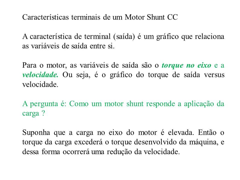Características terminais de um Motor Shunt CC A característica de terminal (saída) é um gráfico que relaciona as variáveis de saída entre si. Para o
