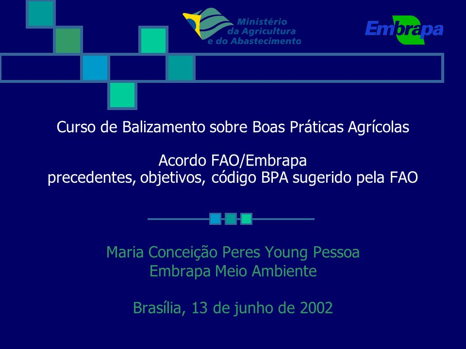 Curso de Balizamento sobre Boas Práticas Agrícolas Acordo FAO/Embrapa precedentes, objetivos, código BPA sugerido pela FAO Maria Conceição Peres Young