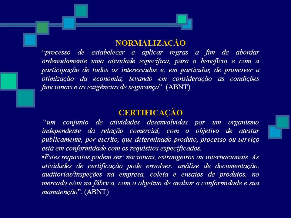 NORMALIZAÇÃO processo de estabelecer e aplicar regras a fim de abordar ordenadamente uma atividade específica, para o benefício e com a participação d