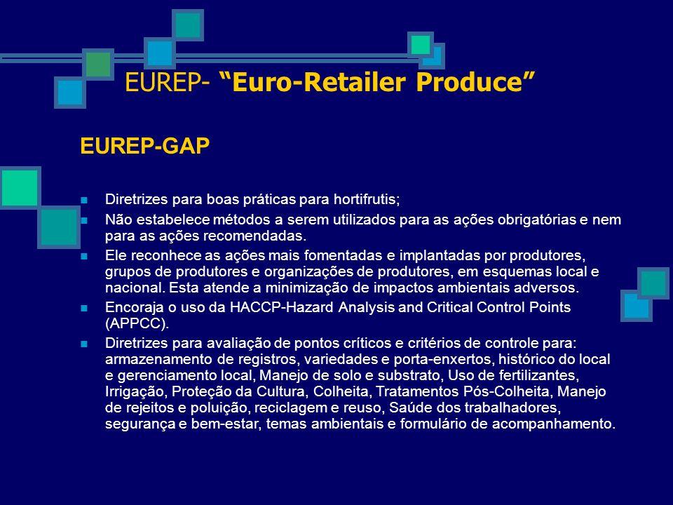 EUREP- Euro-Retailer Produce EUREP-GAP Diretrizes para boas práticas para hortifrutis; Não estabelece métodos a serem utilizados para as ações obrigat