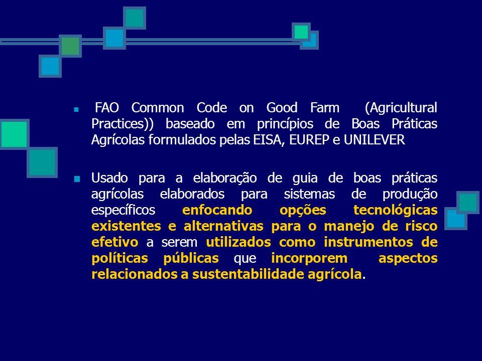 FAO Common Code on Good Farm (Agricultural Practices)) baseado em princípios de Boas Práticas Agrícolas formulados pelas EISA, EUREP e UNILEVER Usado