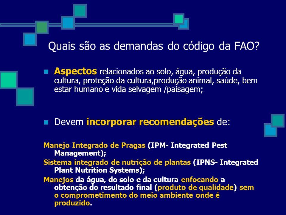 Quais são as demandas do código da FAO? Aspectos relacionados ao solo, água, produção da cultura, proteção da cultura,produção animal, saúde, bem esta