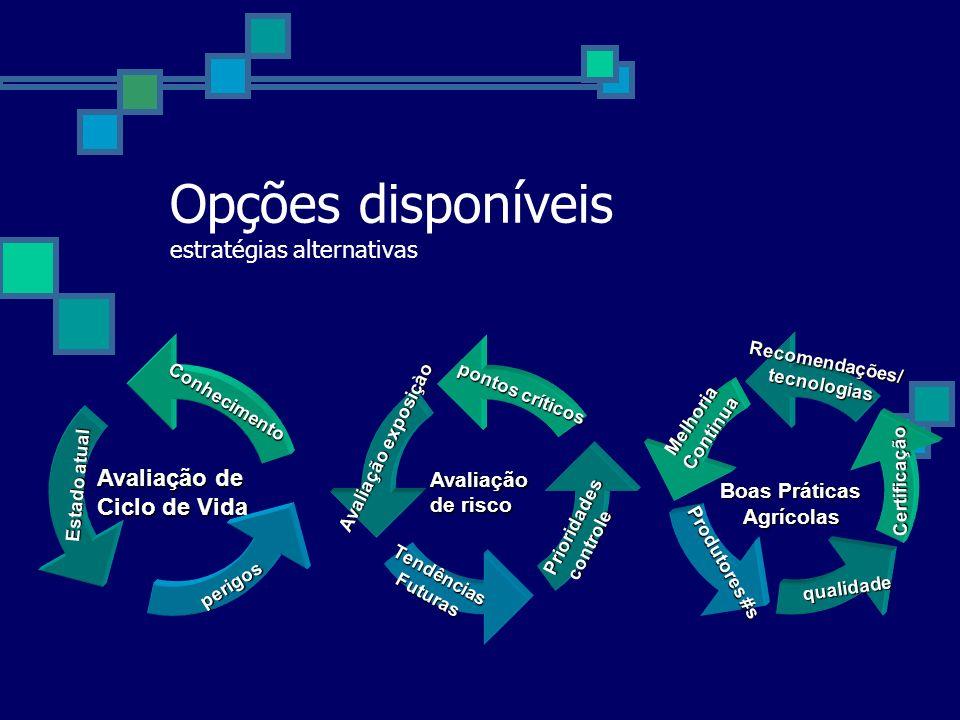 Opções disponíveis estratégias alternativas Avaliação de risco pontos críticos Avaliação exposiçào TendênciasFuturas Prioridades Prioridades controle