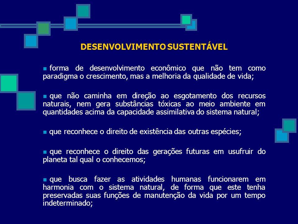 DESENVOLVIMENTO SUSTENTÁVEL forma de desenvolvimento econômico que não tem como paradigma o crescimento, mas a melhoria da qualidade de vida; que não