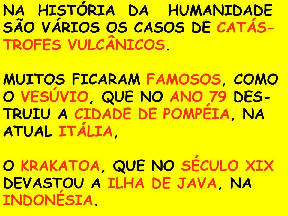 NA HISTÓRIA DA HUMANIDADE SÃO VÁRIOS OS CASOS DE CATÁS- TROFES VULCÂNICOS. MUITOS FICARAM FAMOSOS, COMO O VESÚVIO, QUE NO ANO 79 DES- TRUIU A CIDADE D
