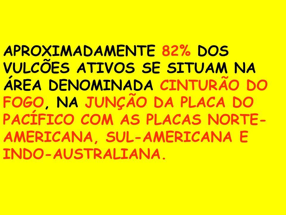 APROXIMADAMENTE 82% DOS VULCÕES ATIVOS SE SITUAM NA ÁREA DENOMINADA CINTURÃO DO FOGO, NA JUNÇÃO DA PLACA DO PACÍFICO COM AS PLACAS NORTE- AMERICANA, S