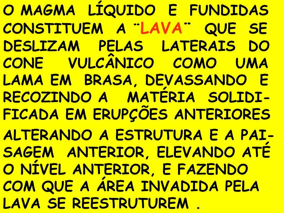 O INÍCIO DE UMA ERUPÇÃO VULCÂ- NICA SE DÁ QUANDO A PRESSÃO INTERNA DA CÂMARA MAGMÁTICA SE ELEVA A PONTO DE EXPLOSÃO EXOTÈRMICA, EXPULSANDO ASSIM O MATERIAL FUNDENTE E INCAN- DESCENTE RESERVADA EM SEU INTERIOR.