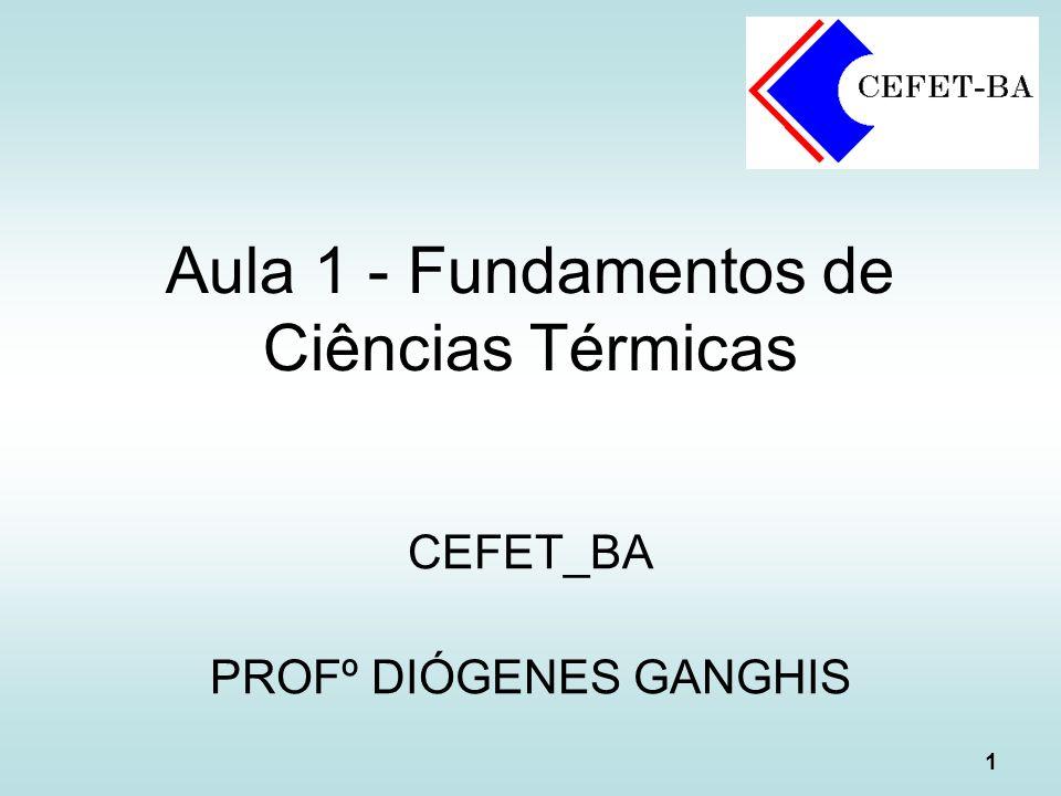 1 Aula 1 - Fundamentos de Ciências Térmicas CEFET_BA PROFº DIÓGENES GANGHIS