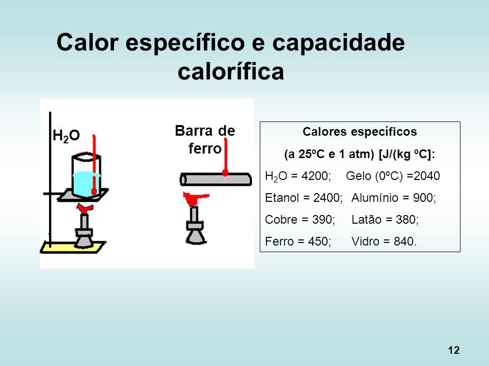 12 H2OH2O Barra de ferro Calores específicos (a 25ºC e 1 atm) [J/(kg ºC]: H 2 O = 4200; Gelo (0ºC) =2040 Etanol = 2400;Alumínio = 900; Cobre = 390;Lat