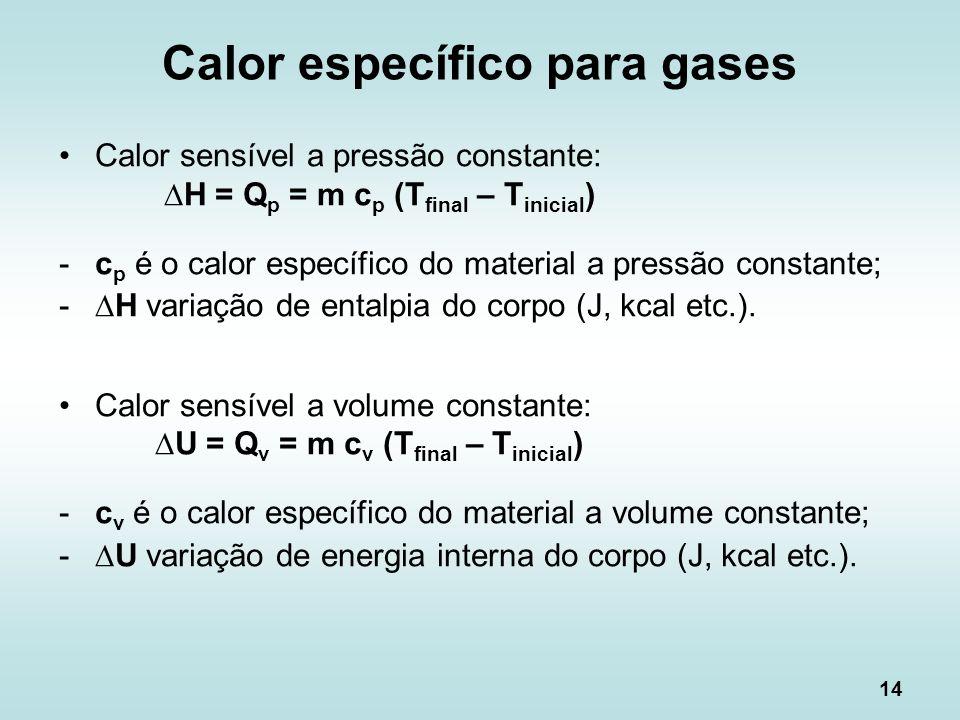 14 Calor específico para gases Calor sensível a pressão constante: H = Q p = m c p (T final – T inicial ) -c p é o calor específico do material a pres
