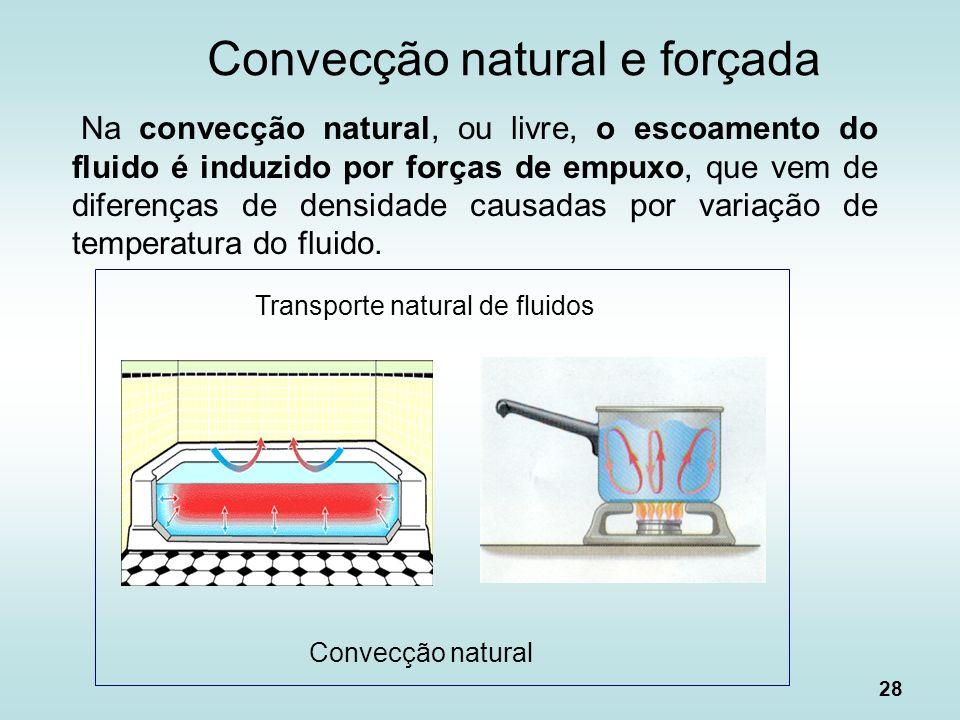 28 Na convecção natural, ou livre, o escoamento do fluido é induzido por forças de empuxo, que vem de diferenças de densidade causadas por variação de