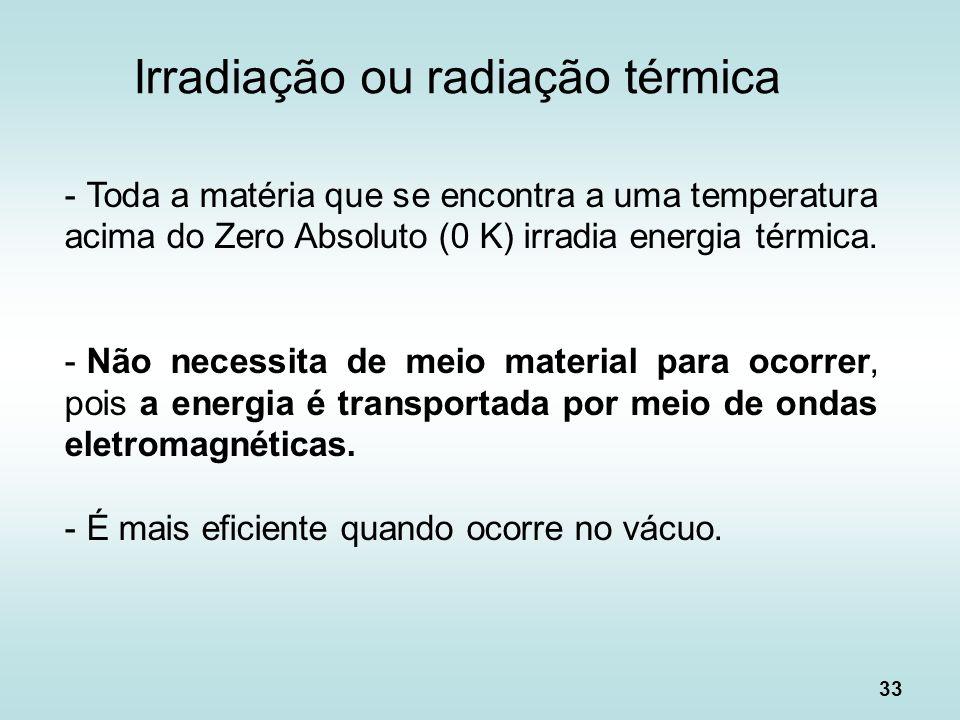 33 Irradiação ou radiação térmica - Toda a matéria que se encontra a uma temperatura acima do Zero Absoluto (0 K) irradia energia térmica. - Não neces