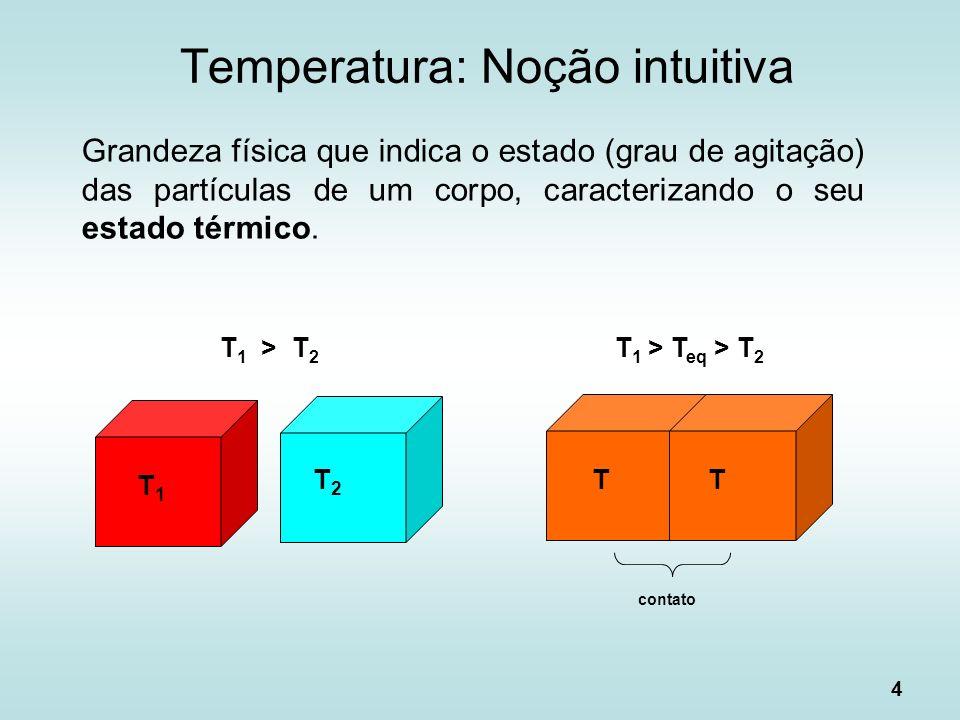 4 Grandeza física que indica o estado (grau de agitação) das partículas de um corpo, caracterizando o seu estado térmico. Temperatura: Noção intuitiva